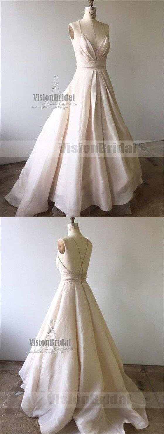 Charming ivory spaghetti straps crisscross back formal prom dress