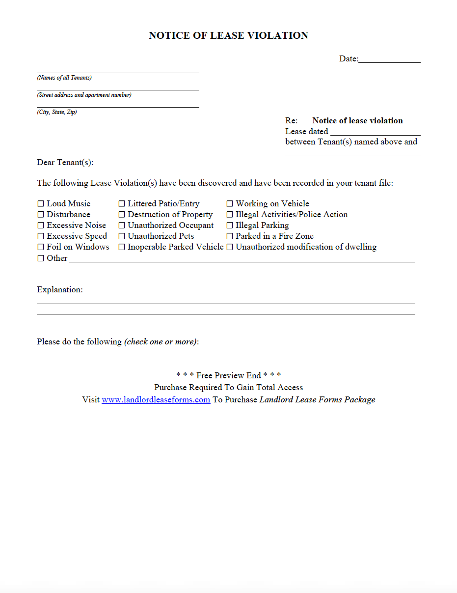 Residential Rental Lease Agreement Notice Of Lease Violation