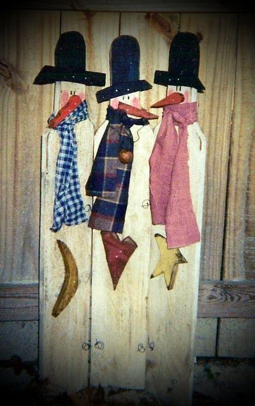 Easy to Make Primitive Crafts | snowmen trio primitive wood pattern vendor bridgeway primitives