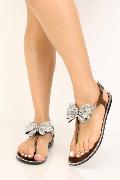 Pazzle - Women Rhinestone Bow Clear Thong Flat Sandal