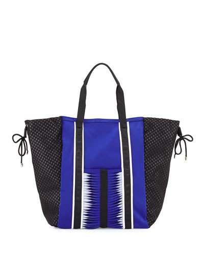 V2YVD Cynthia Vincent Ida Neoprene Tote Bag, Cobalt/Black/White
