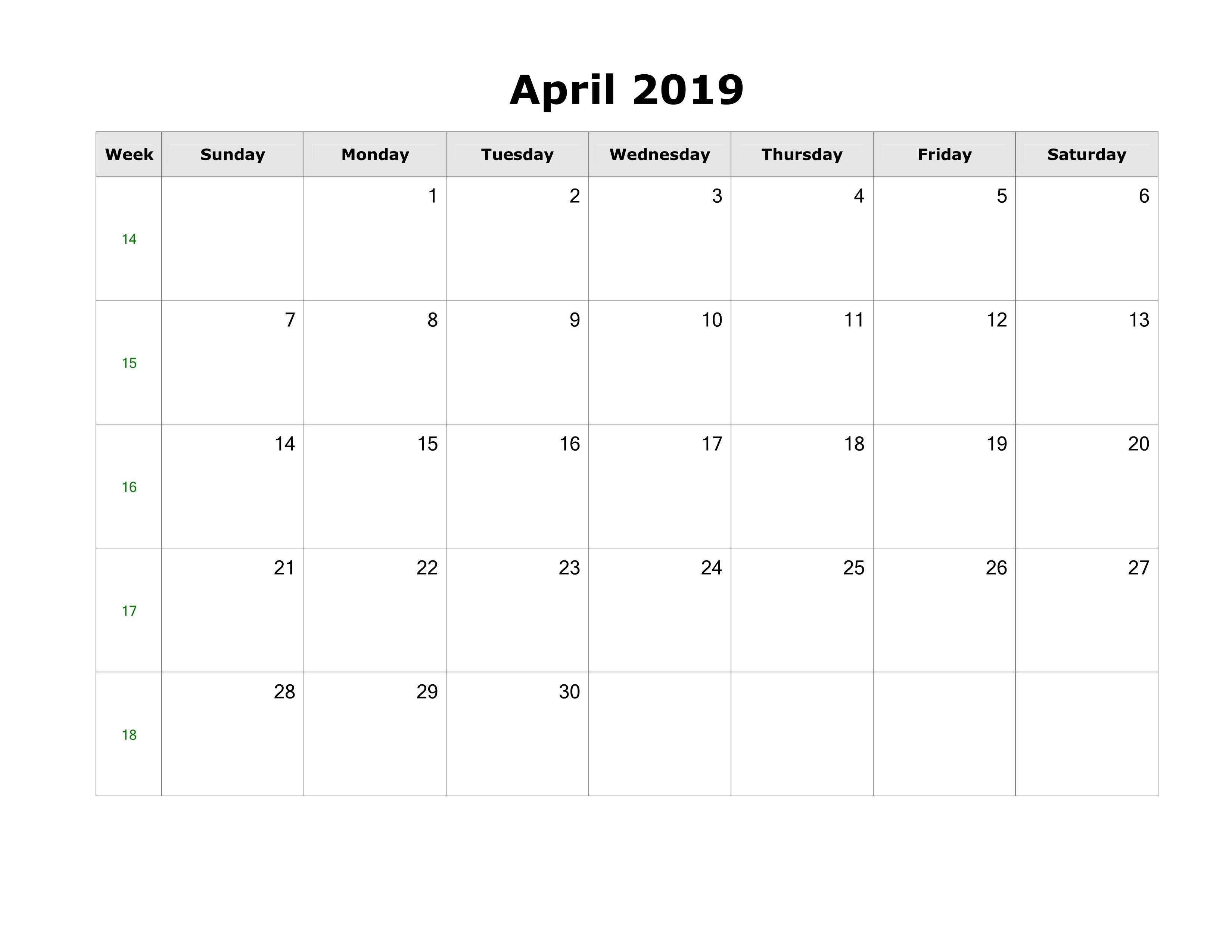 Roman Calendar.April 2019 Calendar With Holidays Decorative April 2019 Printable