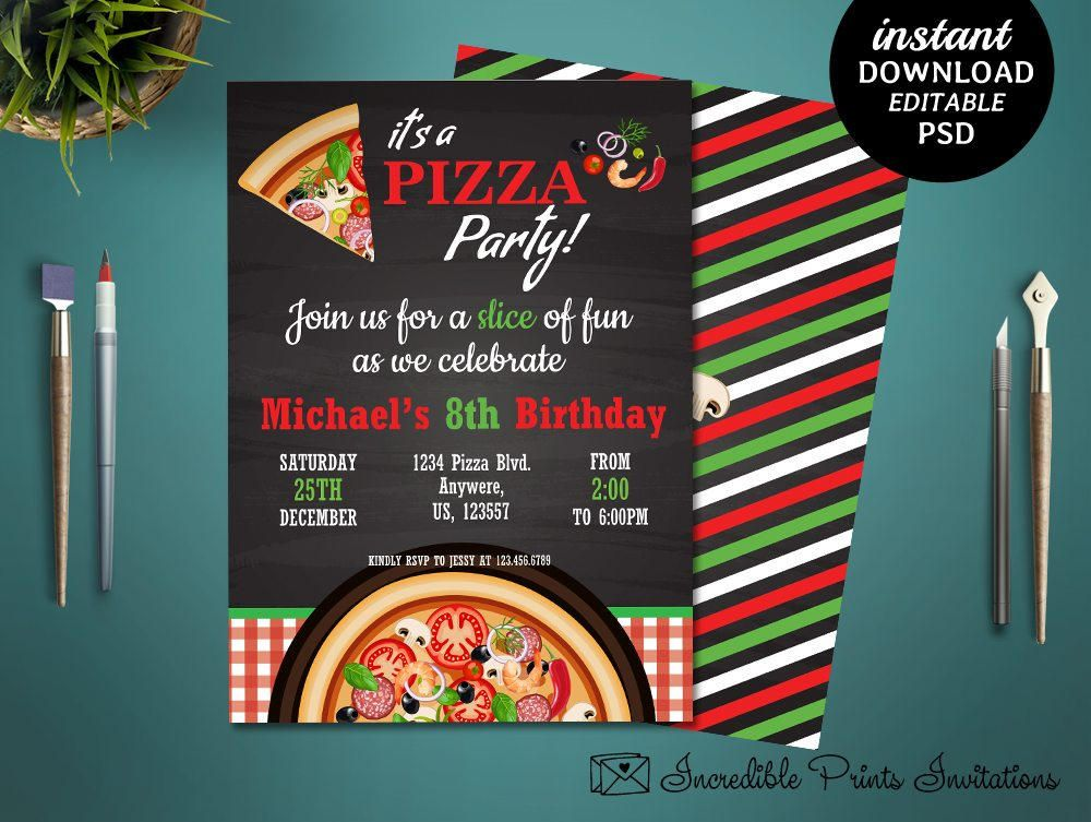 Printable Pizza Party 8th Birthday Invitation Template