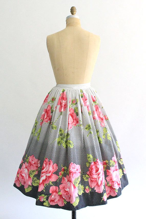 59bd03121e8 Vintage 1950s high waist cotton polka dot rose print skirt | 50s ...