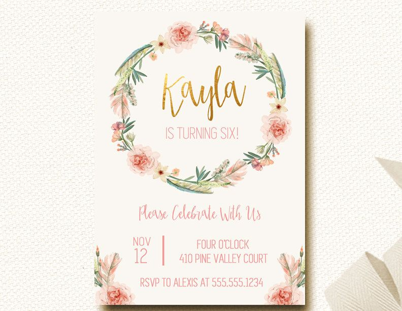 Boho Birthday Invitation Invite Floral Crown Flower Wreath Gold - Birthday invitation cards tumblr