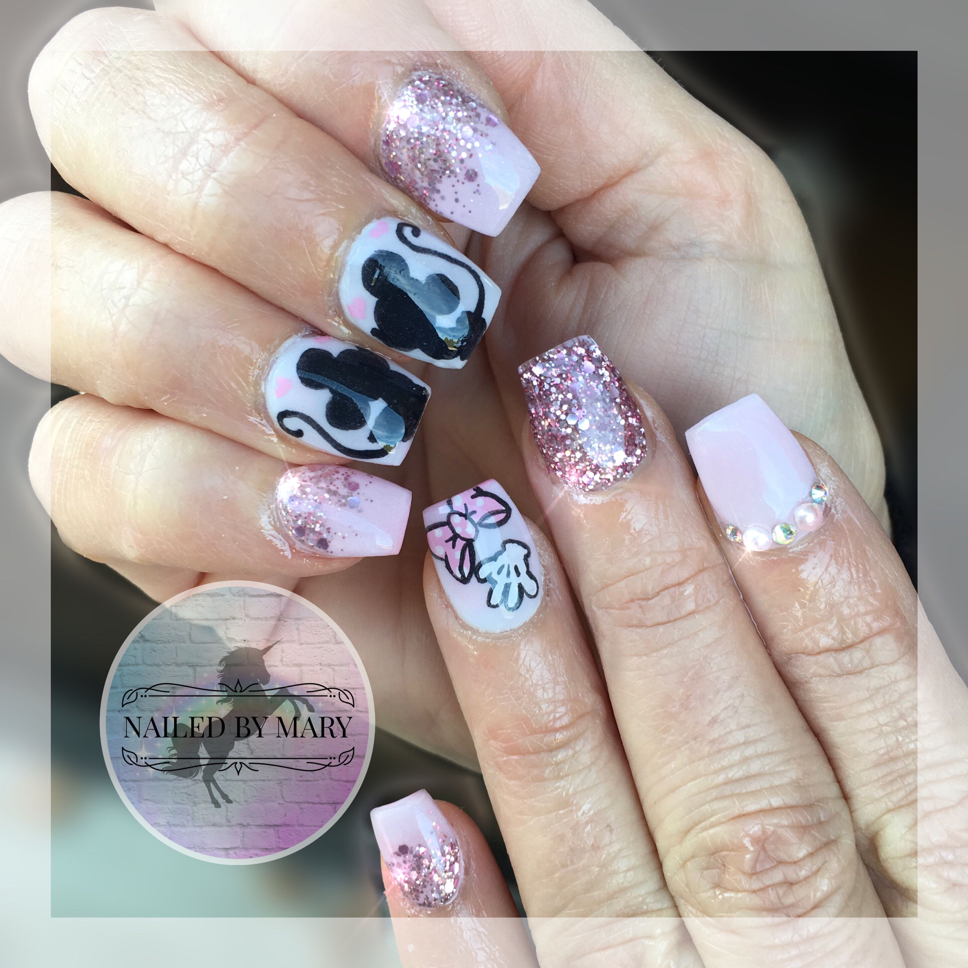 Mickey and Minnie Mouse pink glitter heaven short cute acrylic ...