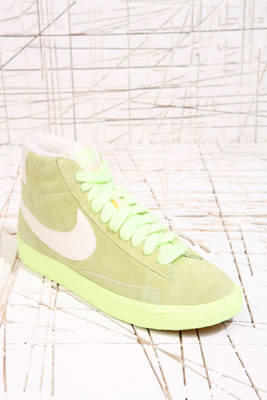 Nike Blazer Green Mid Suede Trainers at Urban Outfitters