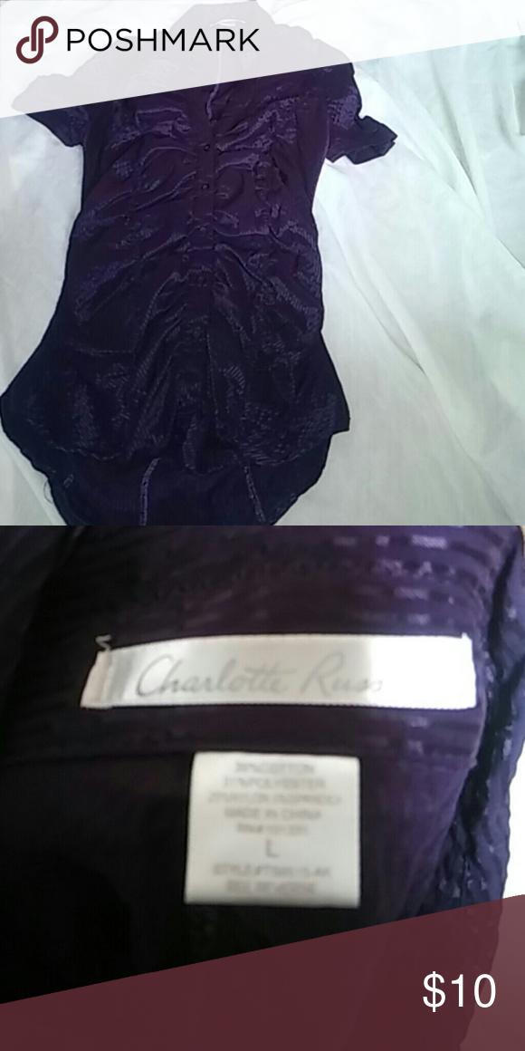Purple Charlotte Russe blouse Short sleeve dark purple blouse Charlotte Russe Tops Blouses