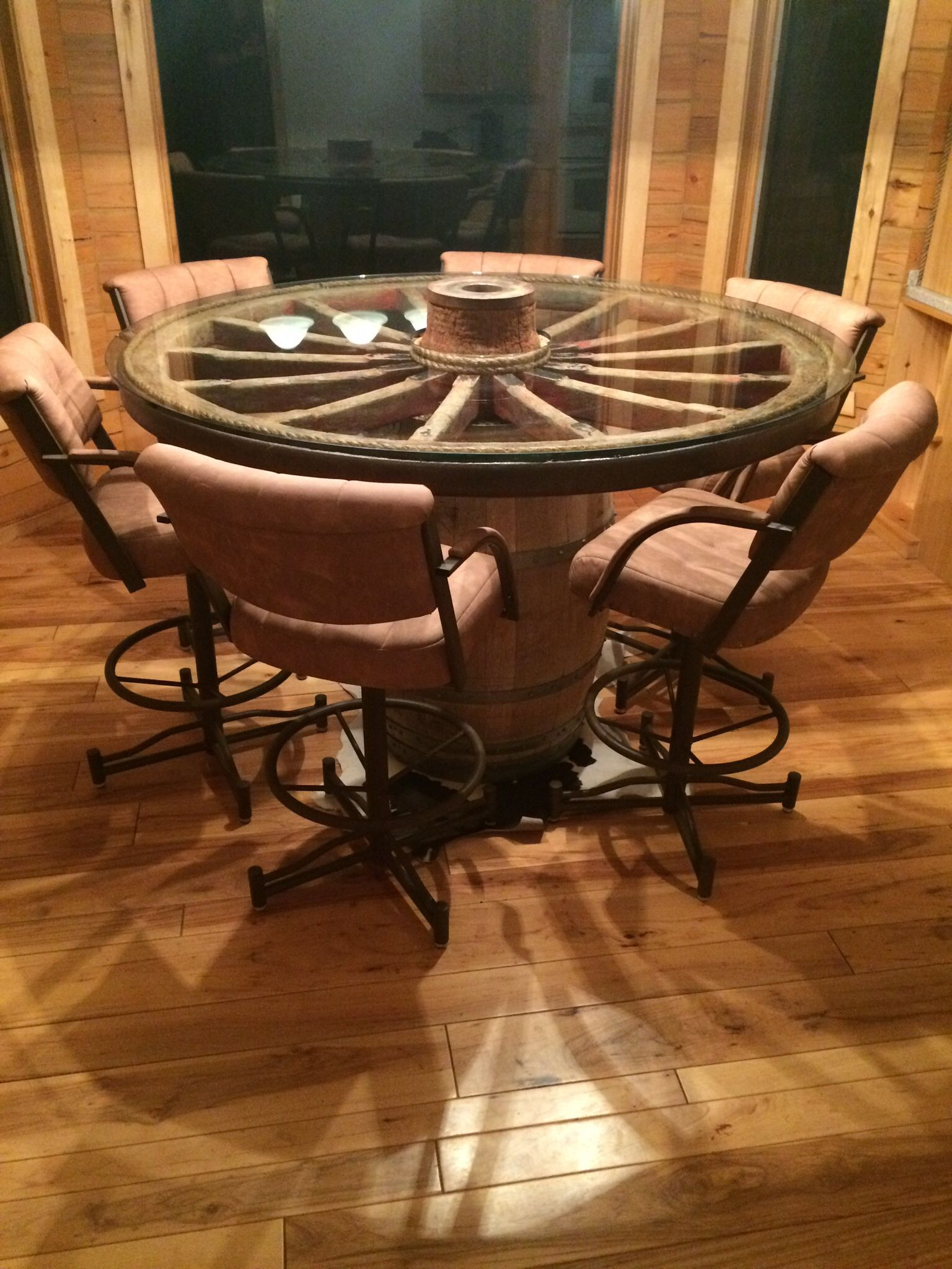 Wagon wheel dining table My House Pinterest