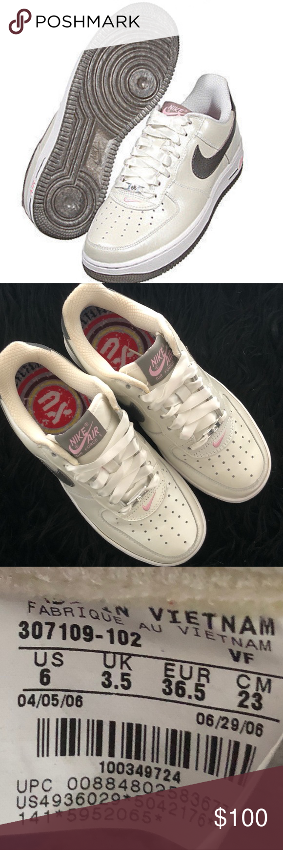 Womens Nike Air Force 1 White Pewter Pink Sz 6 Nike Women