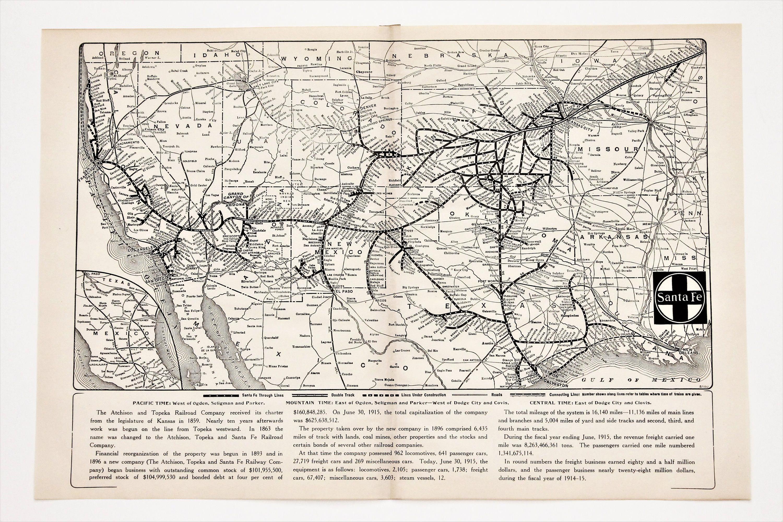 Map Of Arizona Railroads.1920 Santa Fe Route Railroad Map New Mexico Arizona Texas California