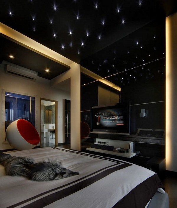 Charmant Teen Bedroom Dark Colors Starry Sky Modern Interior Design Ideas