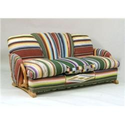 A Mexican Se Upholstered Rattan Sofa
