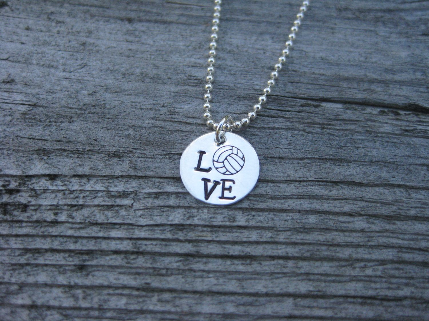 Love Volleyball Necklace Sterling Silver Hand By Esdesigns14 Volleyball Necklace Necklace Silver