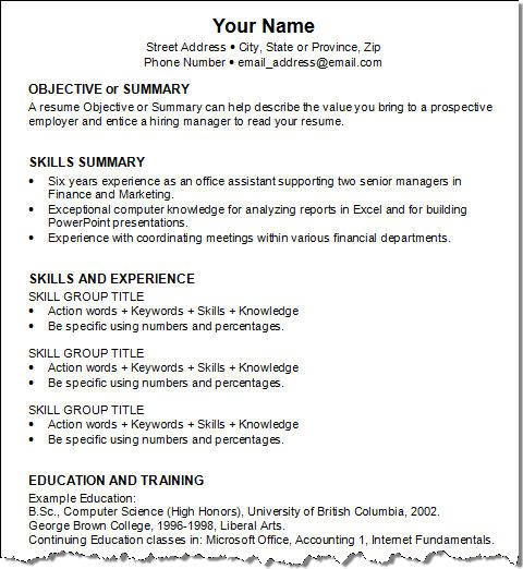 objective or summary  skills summary  skills and experience  education and training