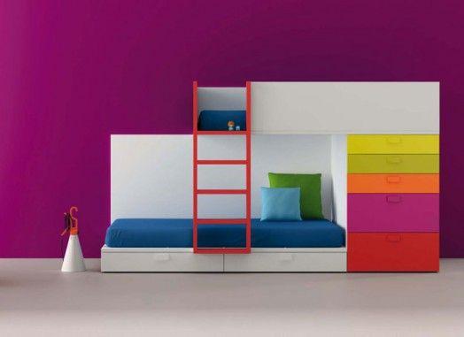 designer möbel bm2000 kinderzimmer lila wand etagenbett schubladen ... | {Möbel für kinderzimmer 15}