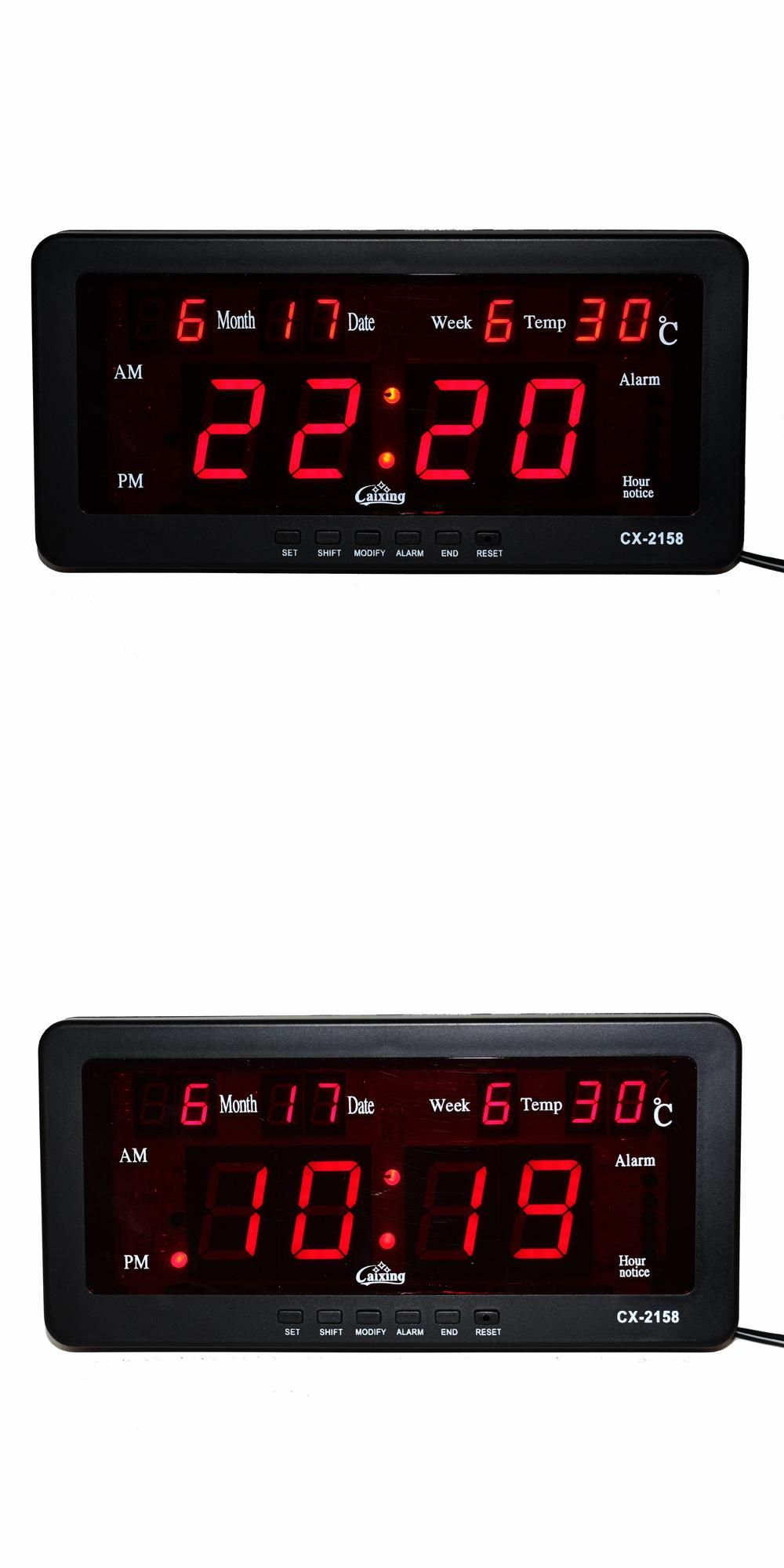 Electronic Alarm Clock Digital LED Calendar Watch with Week and Date