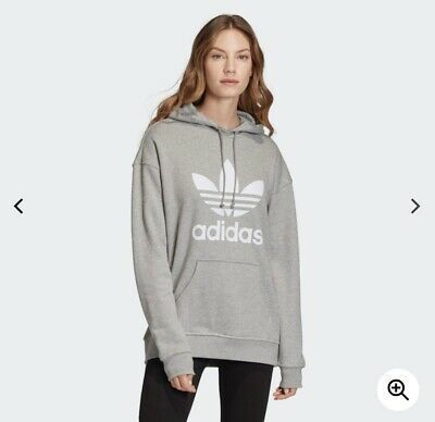 BRAND NEW CY6665 WOMEN'S ADIDAS TREFOIL HOODIE GRAY AND ...
