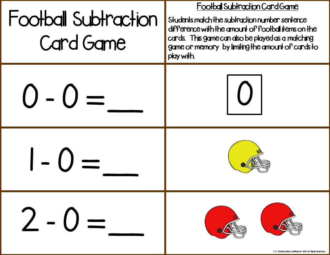 Football Addition Subtraction 0 10 Number Sentence Match Games For Lower Elementary Special Educatio Subtraction Activities Matching Games Subtraction Facts