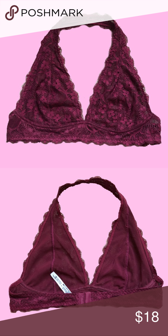 6c8114a6ae9 Merlot Free People Galloon Halter bralette This bralette is a size L and  fits a C-D cup. It has no stretch but it hooks in the back like a regular  bra.