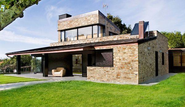 Casa de madera y piedra prefabricada genial para - Exteriores de casas rusticas ...
