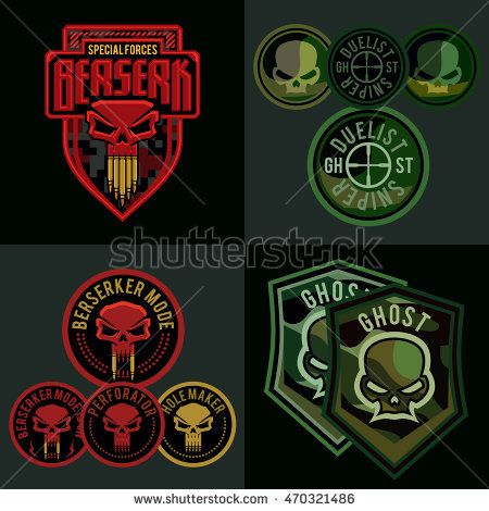 Special Forces Military Patch Set. Skull Badge Template | Stuff ...