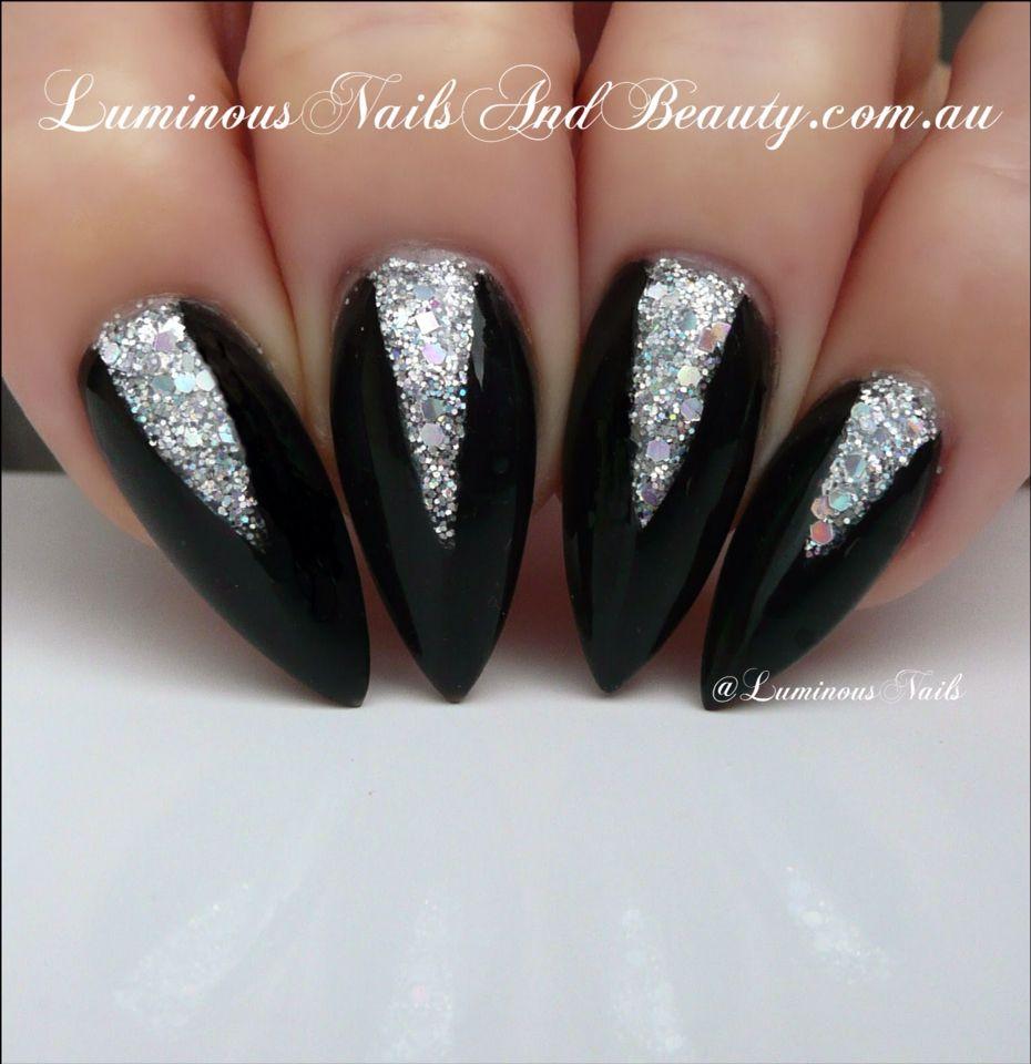 Black And Sparkles Silver Nails Luminous Nails Black Silver Nails
