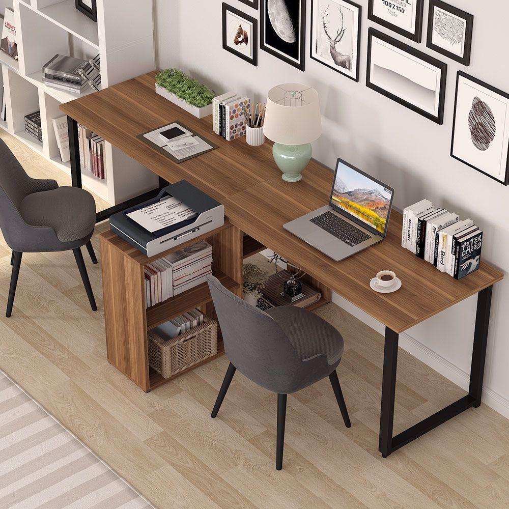 More Ideas Below Diy Two Person Office Desk Storage Plans L Shape Two Person Desk Furniture Ideas Rustic Two Person Home Office Design Home Home Office Space