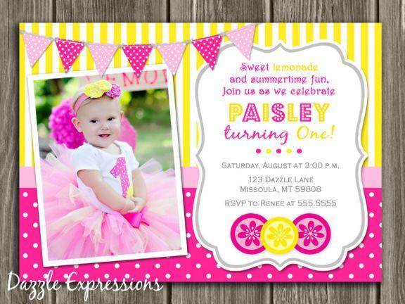 Printable Pink Lemonade Birthday Photo Invitation – Pink First Birthday Invitations