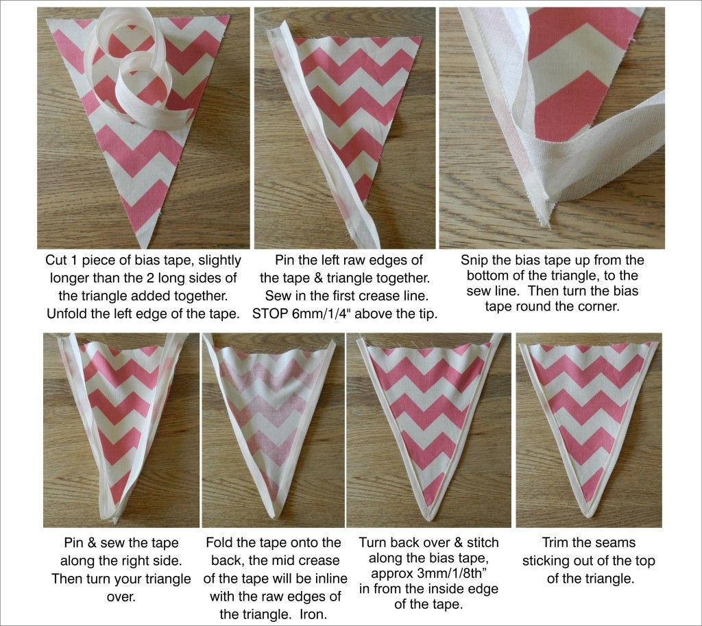 Finish your bunting triangles in style with bias tape trim
