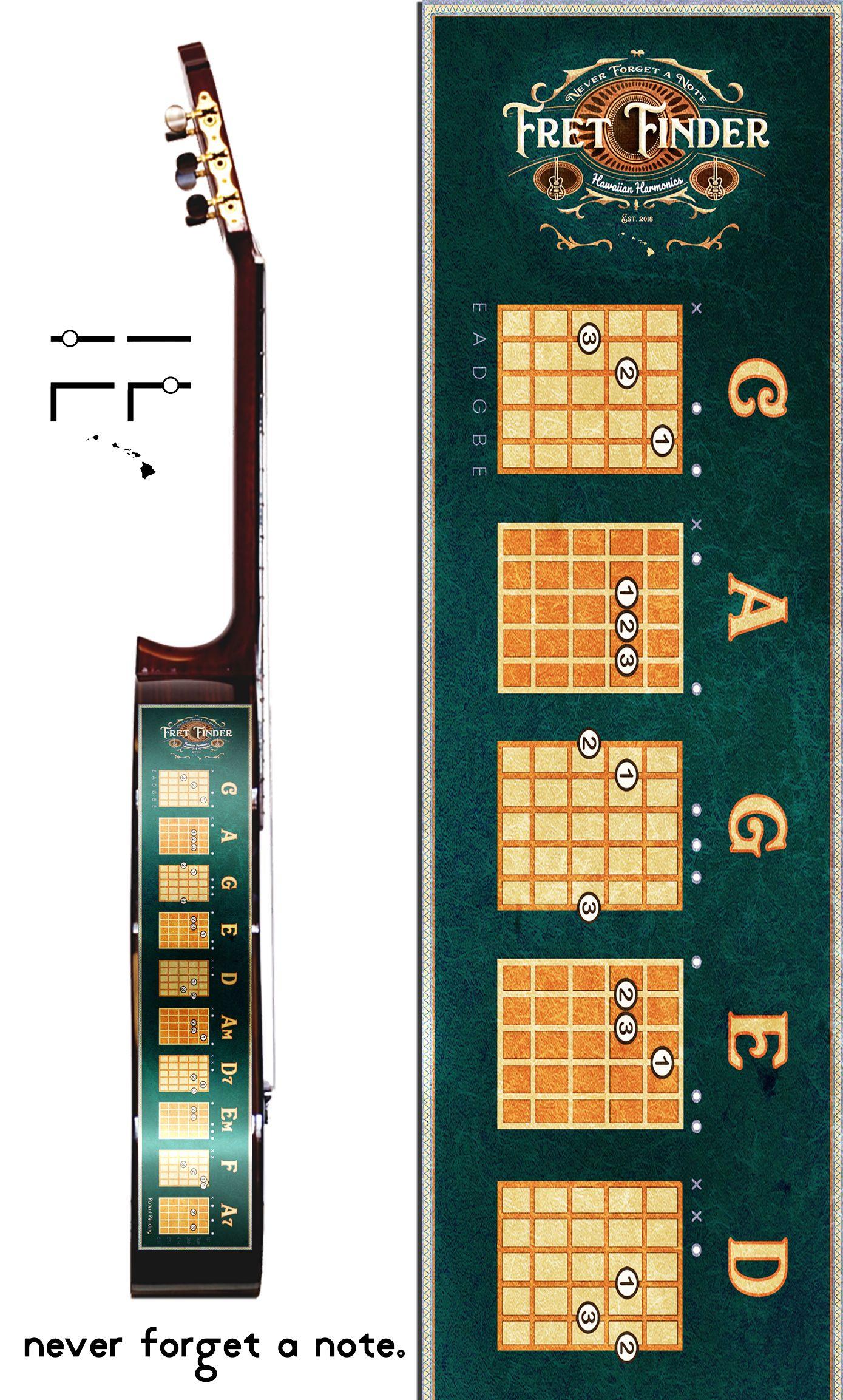 Guitar Chord Chart Cling Caddy Fret Finder by Hawaiian