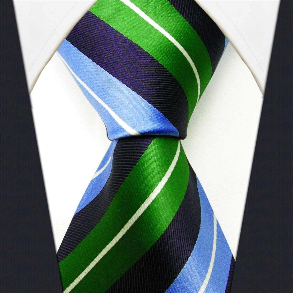 Blue / Green Stripe - Neckties Only Collection - NT025h 25% off discount code: pinterest @ NecktiesOnly.com