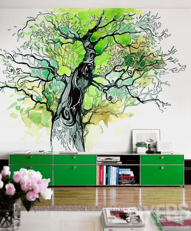 Where To Buy DIY Mural Tree Of Life Wall Decor And Drawer Table   Wall  Decor, Tree Mural Part 92