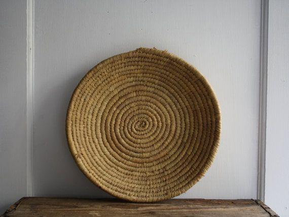 vintage shallow woven grass basket by littlebyrdvintage on Etsy, $24.00