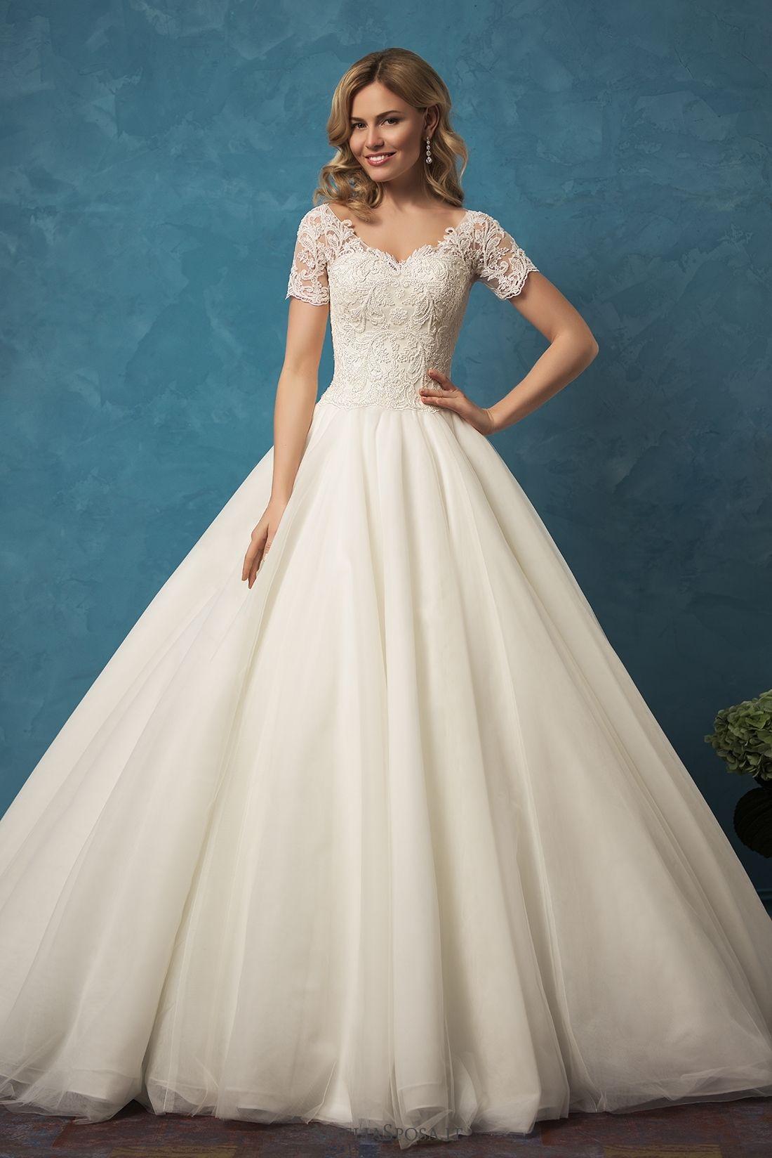 Wedding dress short in front with long train  Wedding dress Alyssa  Amelia Sposa  Vestido de noiva  Princesa