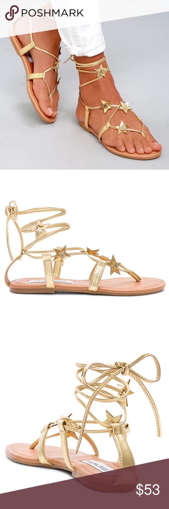 29a08362874dd Steve Madden Jupiter Lace Up Sandal Gold 9.5 NIB Brand New In The Box Steve  Madden Metallic Gold Lace Up Gladiator Flats Size 9.5M, Slim Metallic Laces  ...