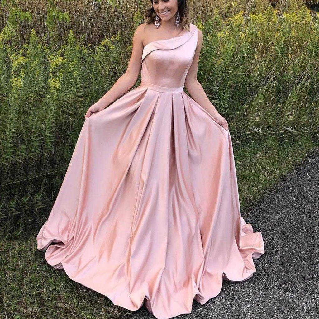 One shoulder satin simple long aline pink elegant formal charming