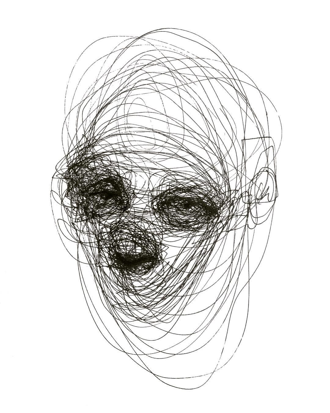 Pen On Paper Ballpointpen Sketch Face Lines Ink