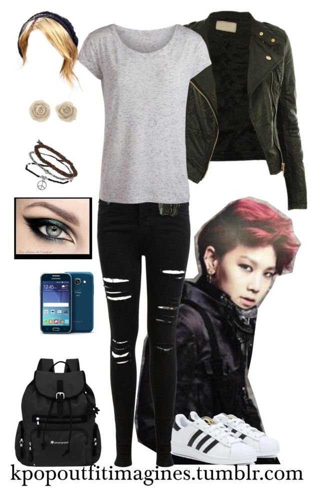 """1st date with Zelo"" by neonlynxie ❤ liked on Polyvore featuring Miss Selfridge, CO, Pieces, adidas, Sherpani, Topshop and Samsung"