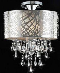 Crystal ceiling fan home garden lamps lighting ceiling fans modern chrome lines drum crystal chandelier ceiling pendant light fixture mozeypictures Images