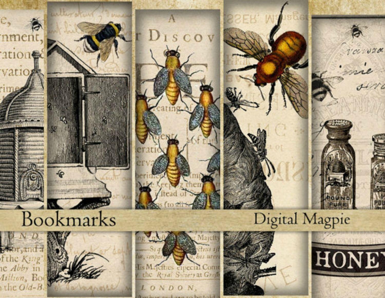 Printable Digital Collage Sheet Bees Honey