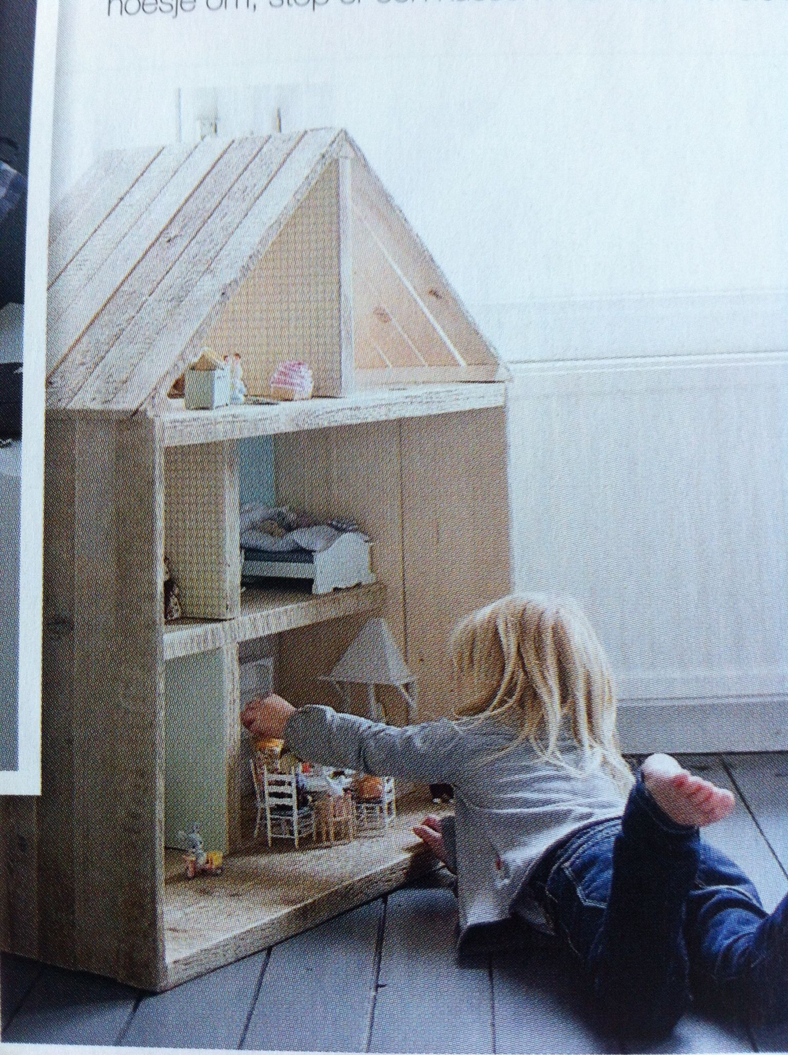 Steigerhout poppenhuis gastouder inrichting pinterest for Poppenhuis voor peuters