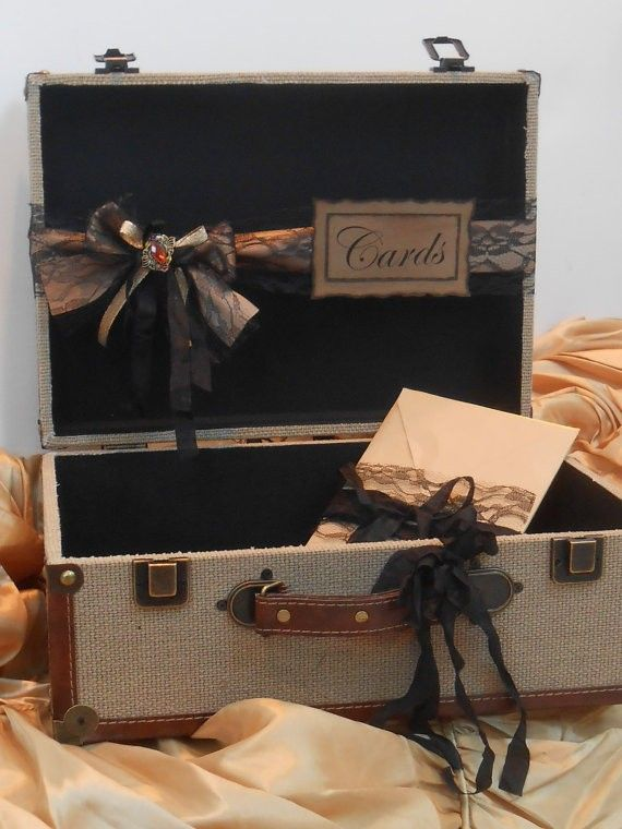 Burlap Suitcase Beach Wedding Card Box Vintage Inspired Card