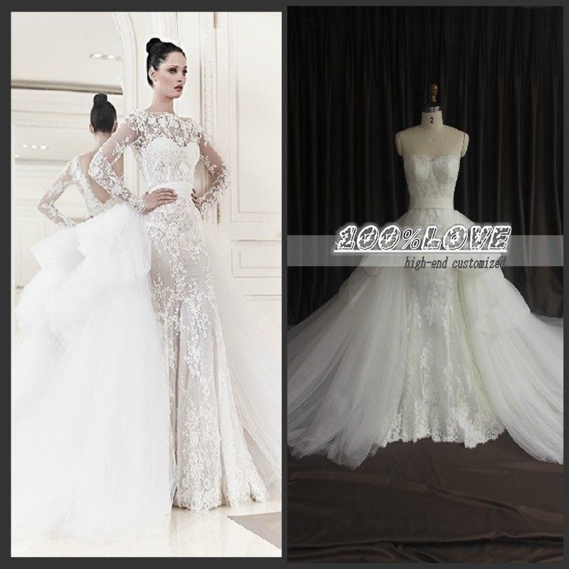 Find More Vestidos de noiva Information about frete grátis manga longa rendas appliqued com longo comboio de casamento vestido na turquia,High Quality dress cross-stitch,China dress designs for women Suppliers, Cheap dresse from 100% Love Wedding Dress & Evening Dress Factory on Aliexpress.com