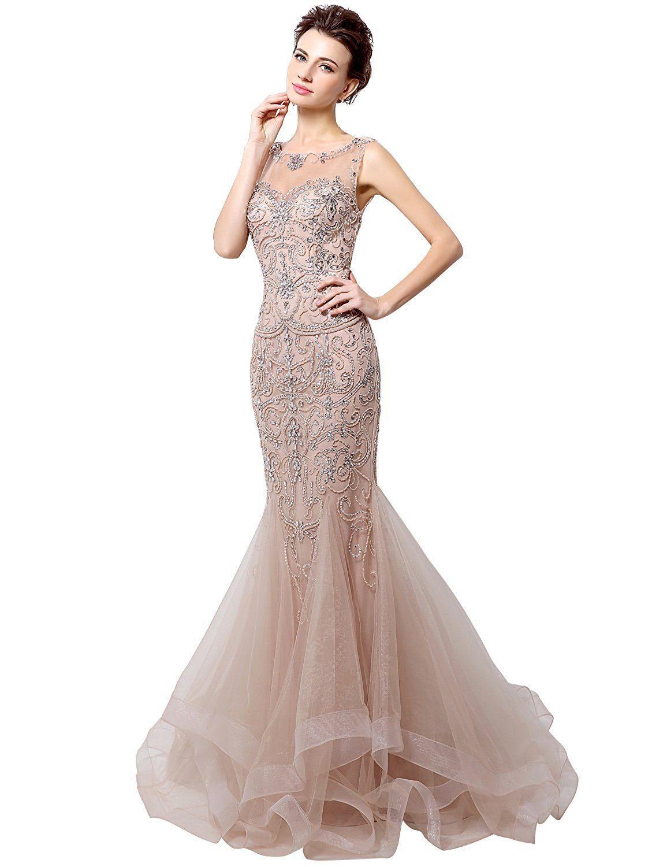us womens sheer bodice mermaid coral prom dress evening