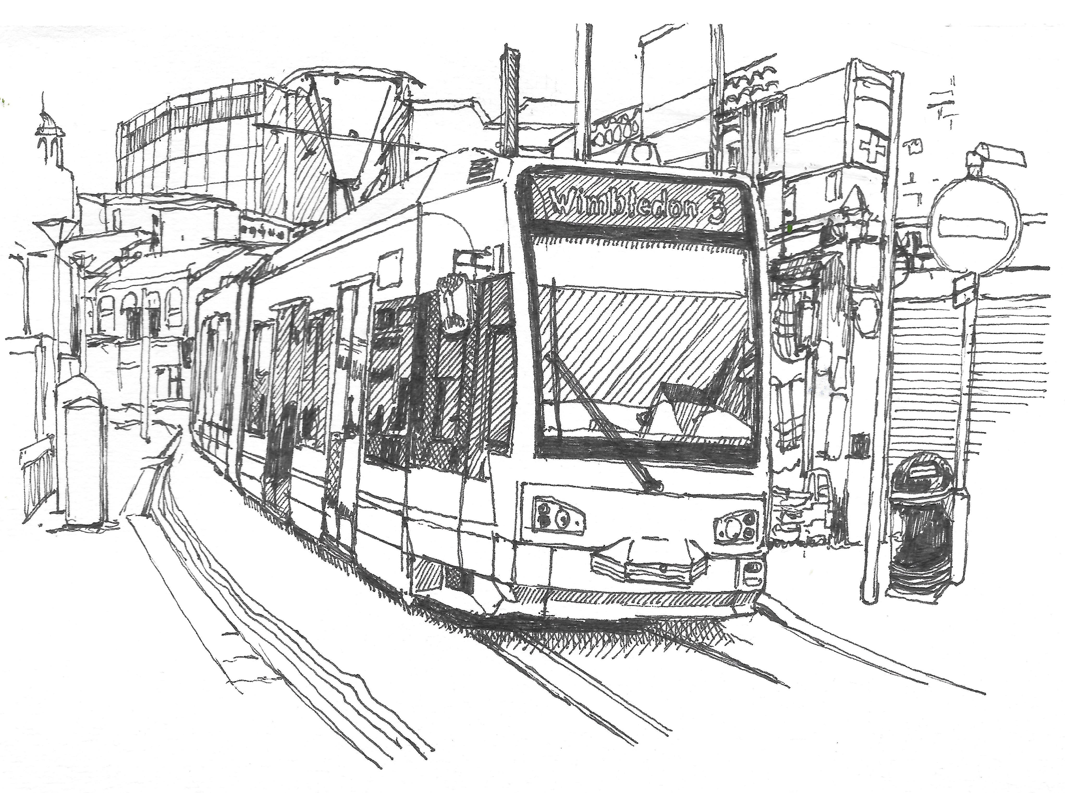 London Tramlink Tram Sketched With 0 3mm Pen Kleurplaten Tekenen