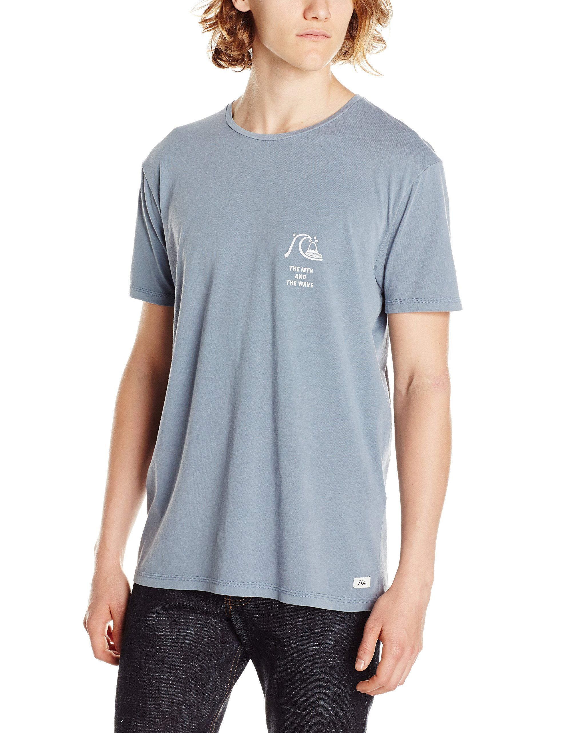Quiksilver Men's Garment Dyed Short Sleeve Bridge Brand T-Shirt, Flint Stone, Small