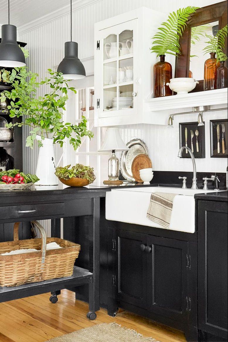 11 Stunning Black Kitchen Cabinet Ideas That Are Too Chic For Words In 2020 Black Kitchen Cabinets Wooden Kitchen Cabinets Black Kitchen Island