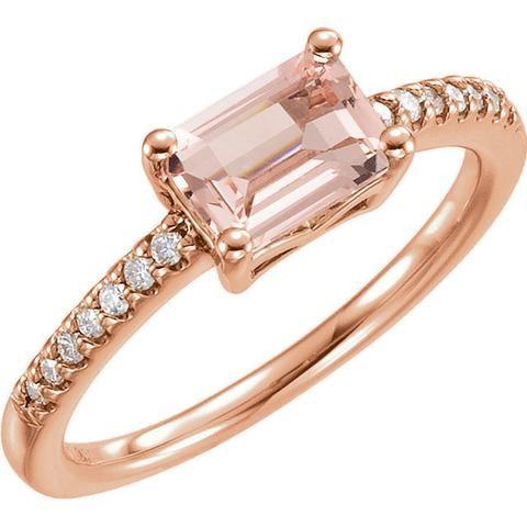 morganite rose gold ring pink morganite ring,morganite wedding ring morganite engagement ring octagon morganite ring 14kt morganite ring