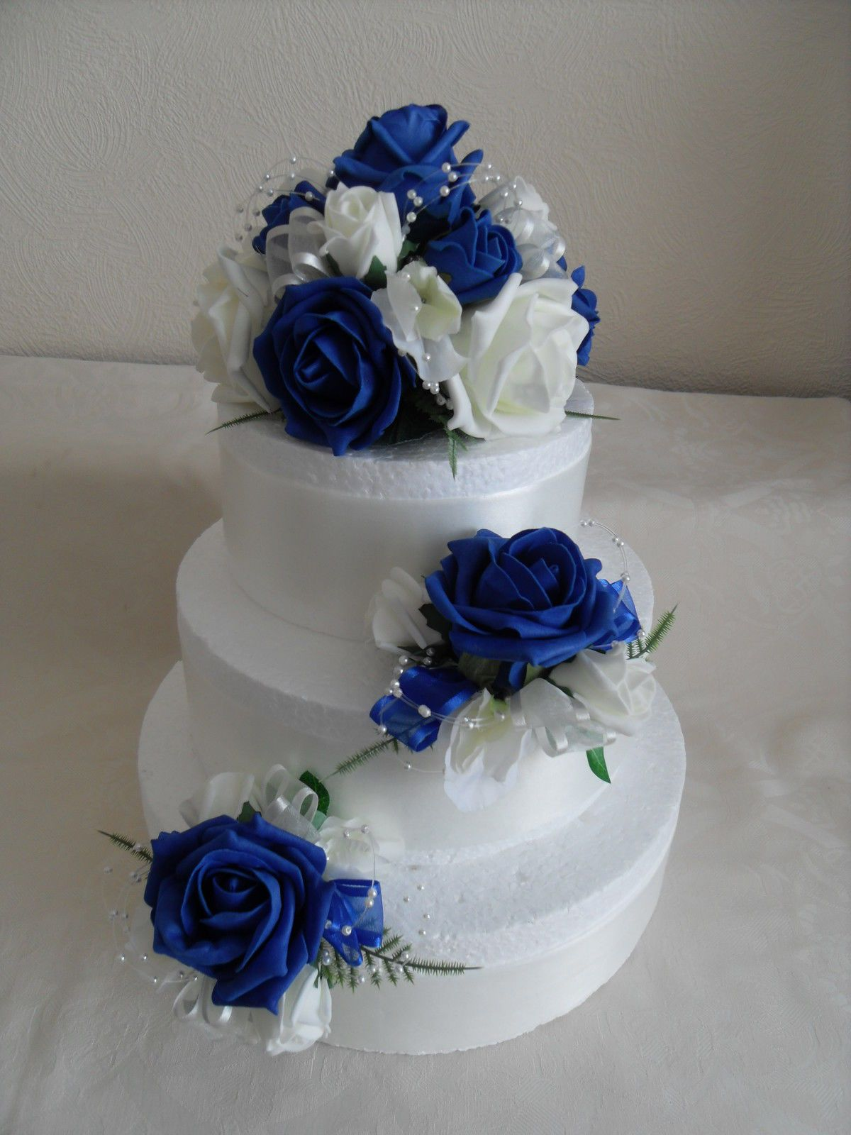 3 Artificial Silk Flower Wedding Cake Toppers In Colourfast Royal